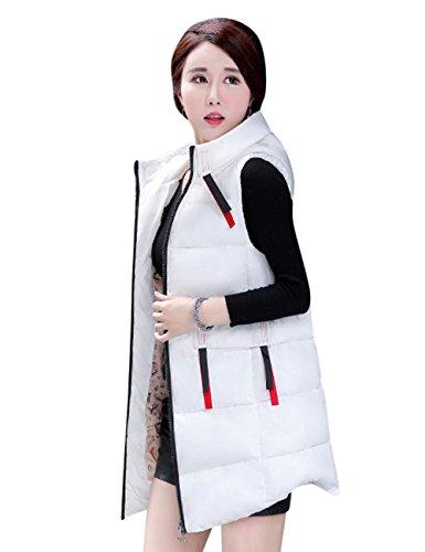 Inflado a de Blanco Mujer con Menschwear Largo Capucha Viento Hq273 para Prueba Chaleco q0wIIB