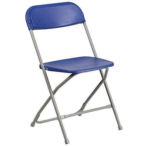 Flash Furniture HERCULES Series 800 lb. Capacity Premium Blue Plastic Folding - Back Cane Chairs Folding