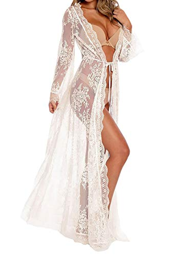 MeiLing Women's Belted Floral Lace Kimono Jacket Cardigan Sheer Robe Lingerie Crochet Dress Bikini Swimsuit Cover Up Swimwear (White)