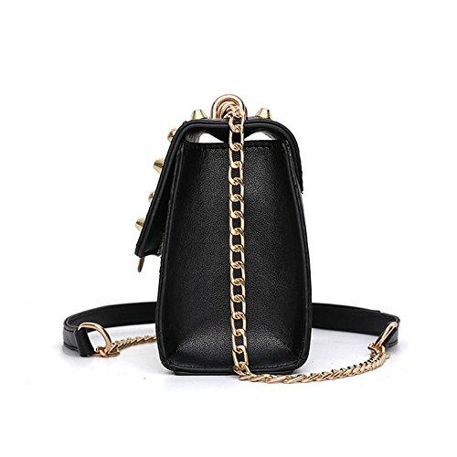 DCRYWRX Leder Crossbody Tasche Mode Geldbörse Handtaschen Für Frauen Lock Umhängetasche Mit Kettenriemen Color 4127X0