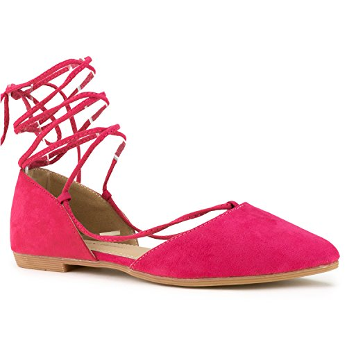 RF ROOM OF FASHION Vegan Pointed Toe D'Orsay Ballet Flats - Ankle Strap Wrap Around Closed Toe Flat Shoes Fuchsia Size.8.5 (Wrap Around Ankle Strap)