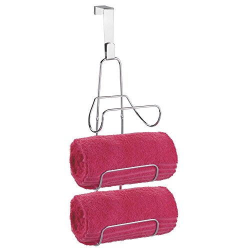 mDesign Modern Decorative Three Level Bathroom Towel Rack Holder & Organizer - Hang Over Shower Door or Wall Mount - for Storage of Bath Towels, Washcloths, Hand Towels - Chrome ()