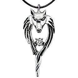 Wintefei Rhinestone Titanium Steel Pendant Punk Wolf Head Totem Men Necklace - White