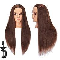 "Headstar Mannequin Head 24-26"" 100% Human Hair Hairdresser Training Head Manikin Head Styling Training Head Cosmetology Doll Head Hair for Practice Cutting Braiding"