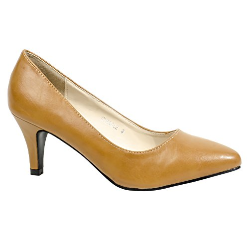 HerStyle Womens Manmade Cirrcle 3-inch Classic Neutral Pump Camel iFwXJ85f06