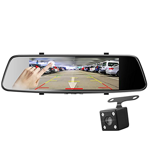 Pruveeo D700 7-Inch Touch Screen Backup Camera Dash Cam Front and Rear Dual Channel with 4 Pin Rear View Reversing ()
