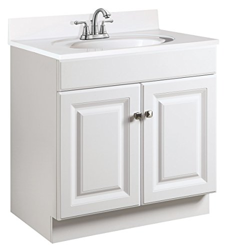 Design House 531731 Wyndham Ready-To-Assemble 2 Door Vanity, White, 24-Inches Wide by 31.5-Inches Tall by 18-Inches Deep - 24 in. W x 18 in. D x 31. 5 in. H Plenty of storage for toiletries to keep your countertop free of clutter Concealed hinges for a clean look - bathroom-vanities, bathroom-fixtures-hardware, bathroom - 41lMzsIMAAL -