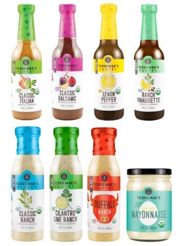 - Tessemae's All Natural Pantry Pack Dressing, Sauce, and Marinade Value & Variety 8 pack - Whole30 Approved, gluten-free, dairy-free, and keto approved