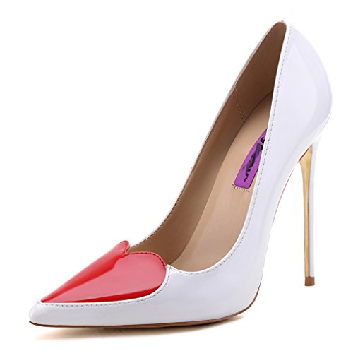 CAMSSOO Womens Girls Fashion Pointy Heart Toe Stilettos Golden High Heel Pumps Evening Prom Bridal Wedding Party Shoes White Patent PU jOV2phv