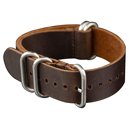 INFANTRY 20mm 5 Silver Rings Genuine Leather Watch Strap Band Stainless Steel Buckle - Medium Brown ()