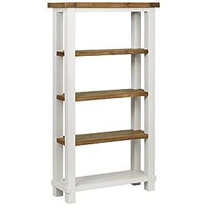"Amazon Brand – Stone & Beam Barrett Reclaimed Wood 4-Shelf Bookcase, 40""W, White and Sandstone Pine"