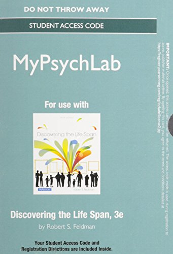 New MyLab Psychology  without Pearson eText -- Standalone Access Code Card -- for Discovering the Life Span (3rd Edition) (Text Alerts Discover Card)
