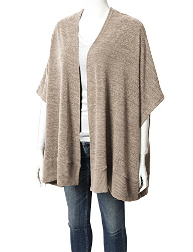 H2H Women's Winter Knitted Cashmere Poncho Capes Shawl Cardigans Sweater Coat Beige US L/Asia L (CWOCASL02) by H2H (Image #4)