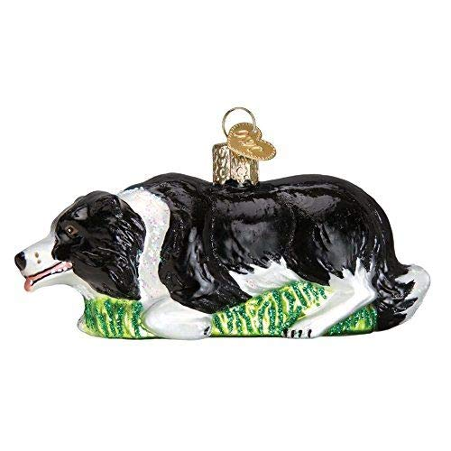 Old World Christmas Dog Collection Glass Blown Ornaments for Christmas Tree Colle, Herding Border Collie (For Christmas Borders)
