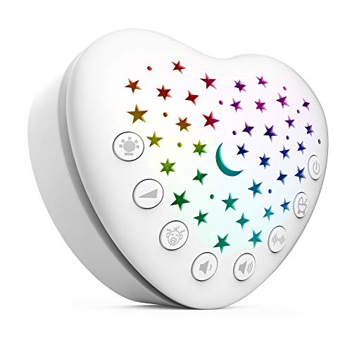 BEREST A13 White Noise Machine & Baby Sleep Soother with 15 Soothing Sounds & Projector LED Star Night Light, Cry Sensor, Rechargeable Lithium Battery, Portable for Baby Gifts, Children, Toddlers