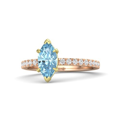 Aquamarine Marquise - Marquise Aquamarine 14K Rose Gold Engagement Ring â€