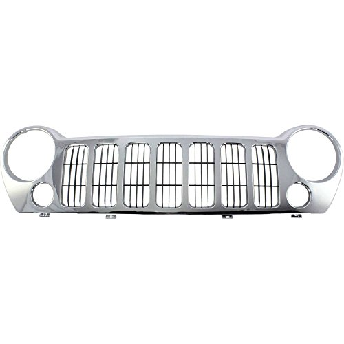 Grille Assembly for 2005-2007 Jeep Liberty CAPA Plastic Chrome Shell w/Black Insert Sport Utility