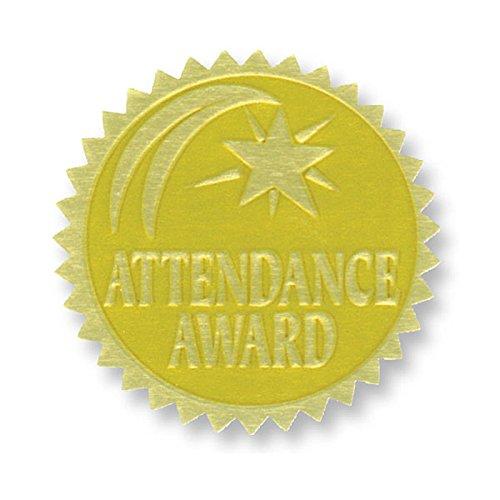 Attendance Award Seal - Flipside - Gold Foil Embossed Seals Attendance Award - 54 Seals