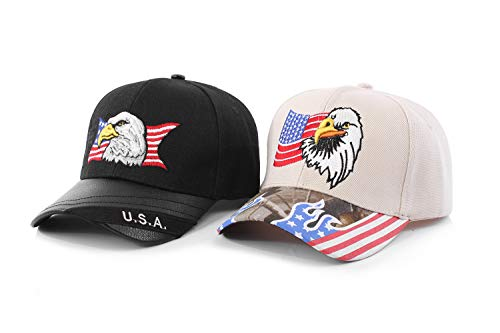 Patriotic American Eagle and American Flag Baseball Cap Men USA 3D Embroidery US Hat Gifts Black 1 Beige 2 ()