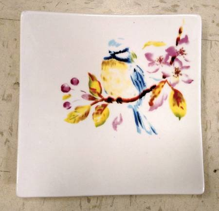 Pier 1 Square Appetizer Plate blue bird on floral branch (Bird Plates One Pier)