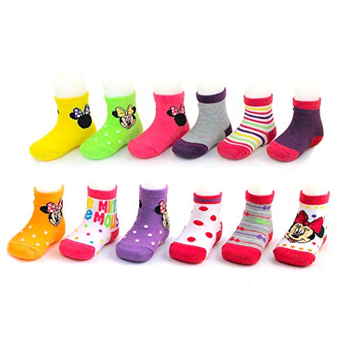 Disney Baby Girls Mickey & Minnie Mouse Assorted Color Pair Socks Set, Dark, Light Collection, 6-12 Months