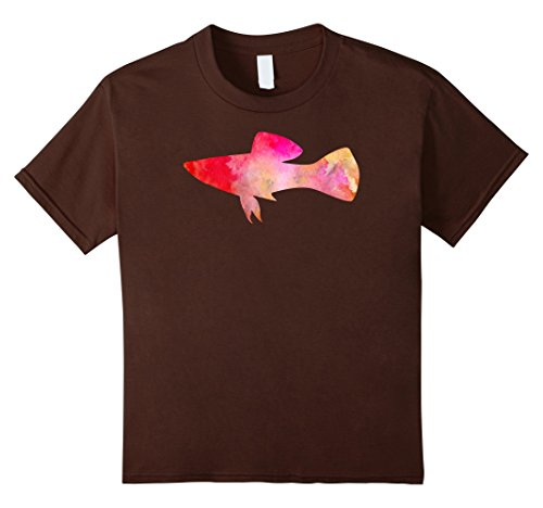 unisex-child RED PLATY FISH Watercolor Painting T-Shirt 10 Brown