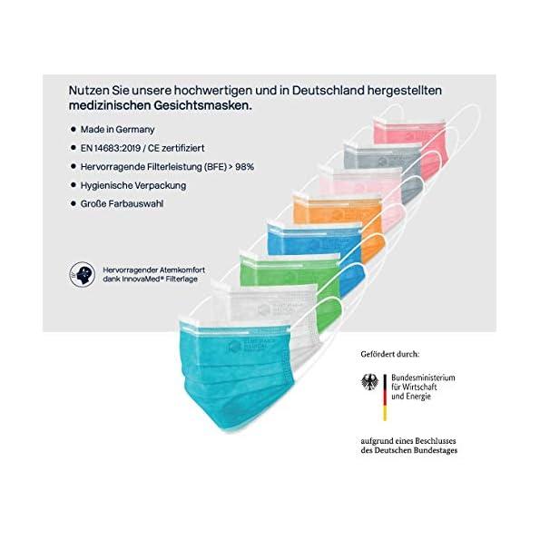 CURT-MARIA-MEDICAL-50-Stck-Medizinische-Gesichtsmasken-100-MADE-IN-GERMANY-Mundschutz-3-lagig-mit-Ohrenschlaufen-zum-Einmalgebrauch-Typ-IIR-zertifiziert-nach-EN-14683-Ros