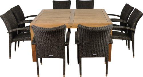 Amazonia Teak Versailles 9-Piece Teak Square Dining Set