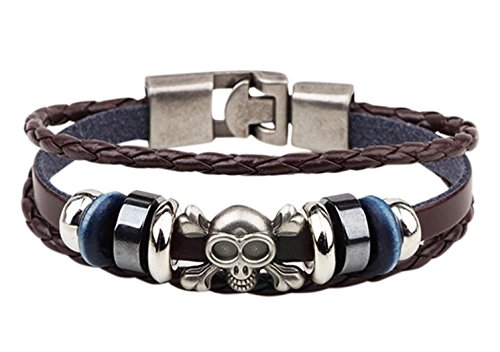 [Veenajo Punk Style Alloy Button Skull Head Leather Handmade Braided Leather Rope Bracelet for Mens Womens] (Dance Studio Costumes Companies)