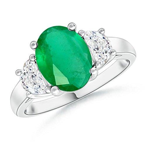 Angara Claw Cushion Emerald and Half Moon Diamond Halo Three Stone Ring eSE21sUE