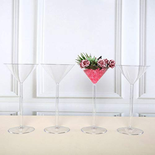 Mikash Clear Plastic Martini VASES Cups 18 Tall Wedding Party Centerpieces Decorations | Model WDDNGDCRTN - 6404 | 4 - Bingo Wedding Bell