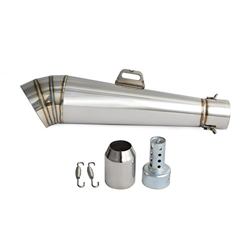- NICECNC Universal Stainelss Steel GP 38-51mm Slip-On Type Exhaust Muffler Pipe & Removable DB Killer for 125-1000CC Motorcycle & Scooter