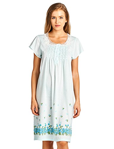 Green Polyester Blend - Casual Nights Women's Fancy Lace Flower Short Sleeve Nightgown - Green - XXX-Large