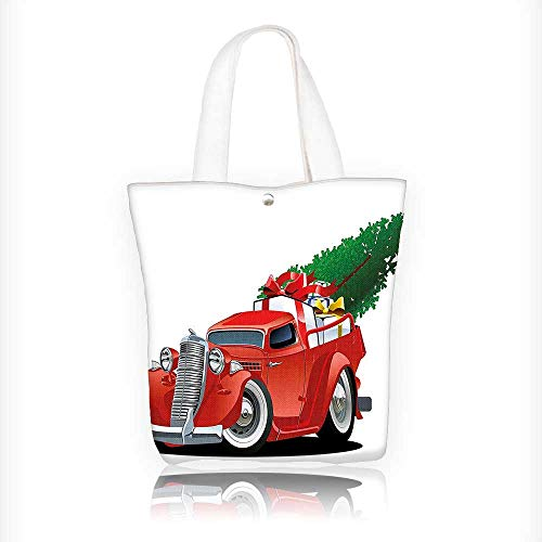 Canvas Zipper Tote Bag Printed Red Truck with Xmas Tree and Gift Boxes in PickupMotor White Red Reusable Canvas Zipper Tote Bag Printed 100% Cotton W11xH11xD3 INCH