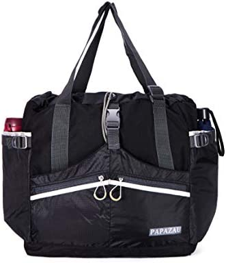 PAPAZAU Rfid Travel Tote Bag 40L Convertible Rpet Tote Backpack Large Beach Gym Tote Bag Black