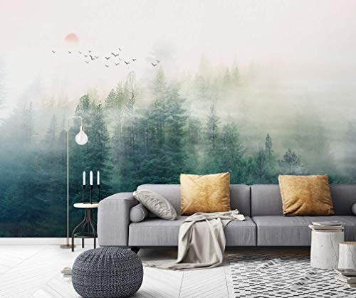 Amazon Com Murwall Forest Wallpaper Misty Jungle Wall Mural Sunrise Wall Print Rustic Home Decor Cafe Design Living Room Entryway Handmade