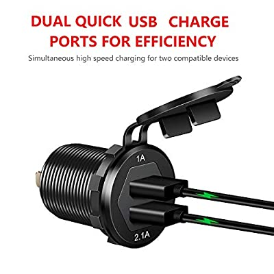 Dual USB Charger Socket Power Outlet 1A & 2.1A(3.1A) Aluminum Waterproof Car USB Charger with Wire Fuse for Car Boat Marine RV Mobile DIY Kit (1.8M Wire) Black: Electronics