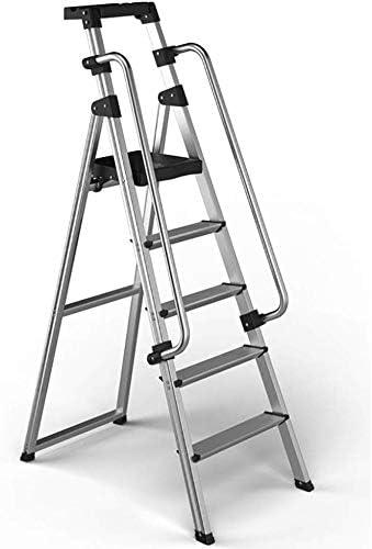 JLDN Escalerilla, 5 Peldaños Escalera Plegable Escalera con Apoyabrazos Resistente y Ancha Antideslizantes Household Stepladder Multiusos,Silver: Amazon.es: Hogar