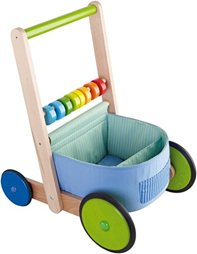 HABA Color Fun Walker Wagon - Push Toy with Wood Frame, Fabric Compartments and Large Sturdy Wheels