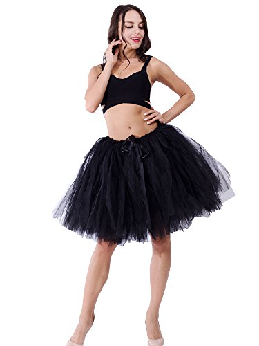 FOLOBE Women's Handmade Puffy Tutu Tulle Skirt Self Tie Free Waist Short Length in 19.7in/50CM Black (Ribbon Tie Shorts)