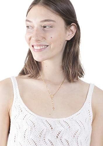 Happiness Boutique Collana Croce con Moneta in Color Oro | Collana Y Acciaio Inossidabile