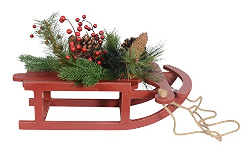 Berry Sleigh (17 Inch Long Red Christmas Wood Sleigh With Pine Cones and Berry Accents)