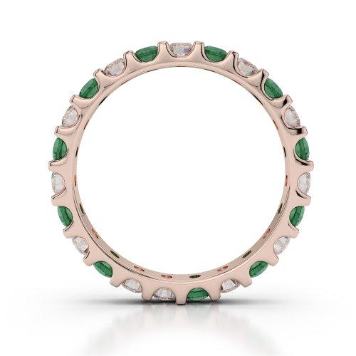 Or Rose 18carats 1,15CT G-H/VS sertie de diamants ronds découpé Émeraude et bague éternité Agdr-1105