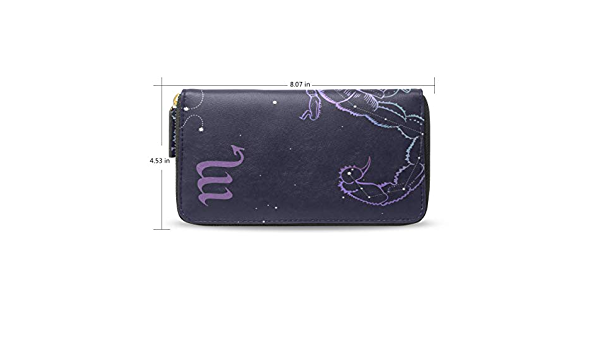 Scorpio Zodiac Design Leather Purse with Zipped Compartments RFID Protected Ladies Gift 314