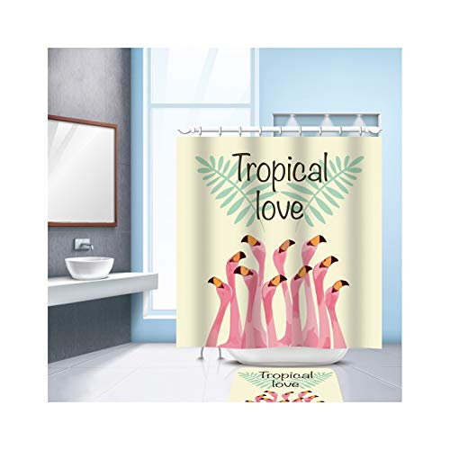 ANAZOZ Shower Curtain Waterproof Mildew Resistant Tropical Love Flamingos Shower Curtains Bathroom Polyester 48x72 - Teal Inch Curtains 98