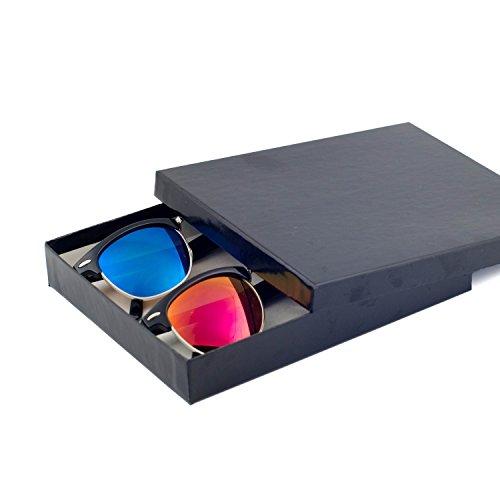 Reflective Color Mirror Color Lens Retro Classic Style Sunglasses - Blue/Sunset