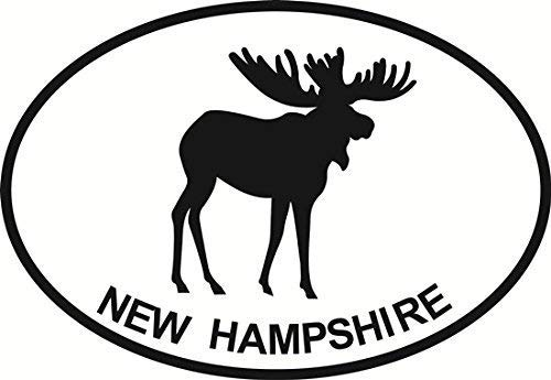 Vinyl Overlays 720 New Hampshire Moose Euro Oval Bumper Sticker 5