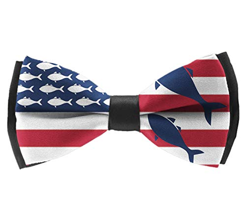 Formal Pre-Tied Bow Tie - USA Flag Fish - Rave Party Banquet Suit Creative Bow Ties, Adjustable Length Premium Bow Ties ()