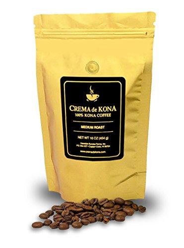 CREMA de KONA Roasted 100% Kona Coffee Beans (Milieu Roast, 1 pound)