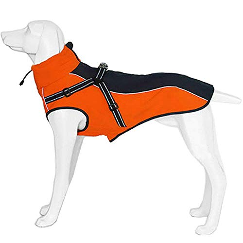 Petilleur Dog Jacket with Harness Warm Coats and Jackets for Medium and Large Dogs (M, Orange)